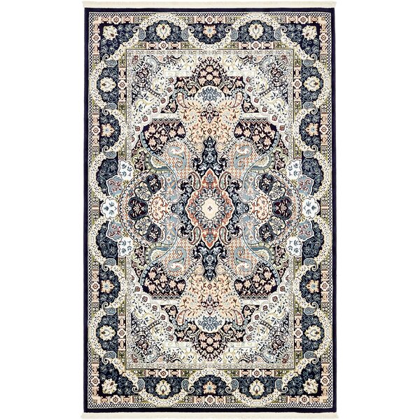 Quince Navy Blue/Ivory Area Rug by Astoria Grand