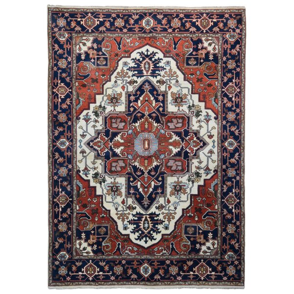 One-of-a-Kind Ftenelle Oriental Hand-Knotted Red/Navy Area Rug by Bloomsbury Market