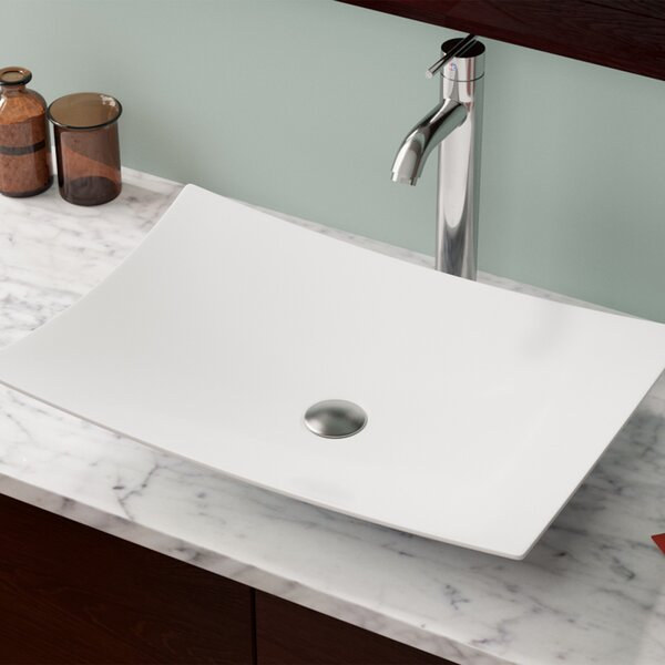 Vitreous China Rectangular Vessel Bathroom Sink by MR Direct