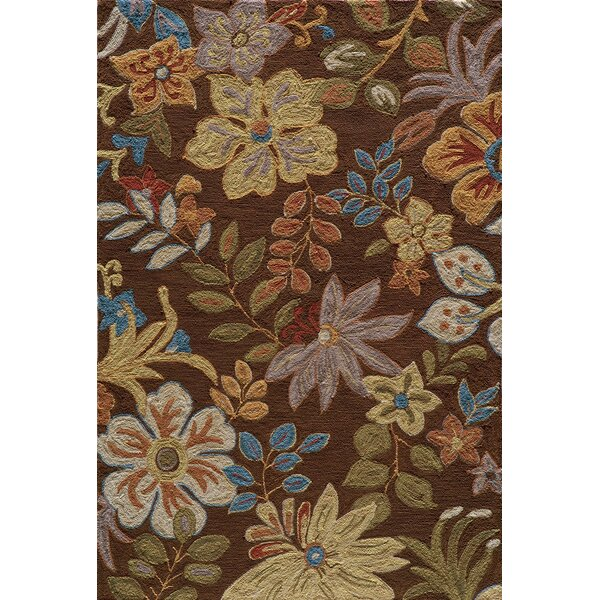 Ophelia Hand-Hooked Brown Area Rug by Charlton Home