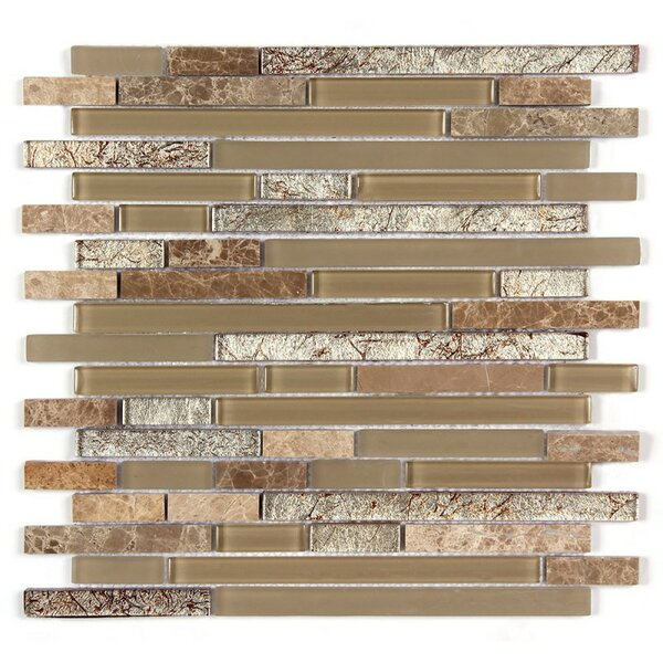 Random Strip Clear and Frosted and Rippled 12 x 12 Glass and Stone Blend Mosaic Tile in Beige by Seven Seas