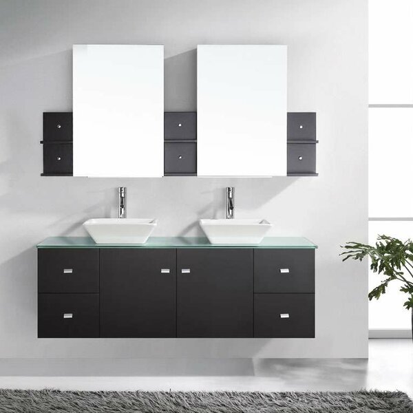 Decastro Modern 61 Double Bathroom Vanity Set with Tempered Glass Top and Mirror by Mercury Row
