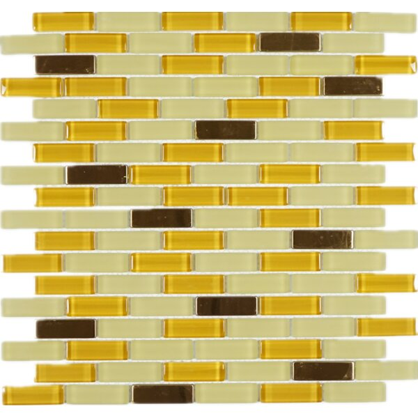 0.62 x 2 Glass Mosaic Tile in Champagne/Brown by Multile
