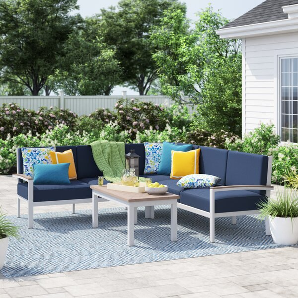 Caspian 4 Piece Sectional Seating Group with Cushions by Sol 72 Outdoor