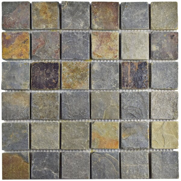 Peak Quad 1.88 x 1.88 Slate Mosaic Tile in Sunset by EliteTile