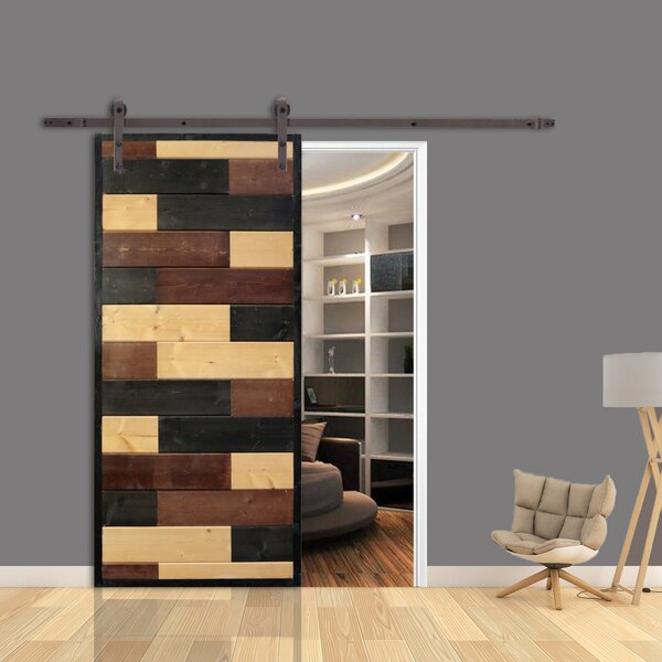 Mosaic Room Divider Knotty Pine Wood Slab Interior Barn Door by Calhome