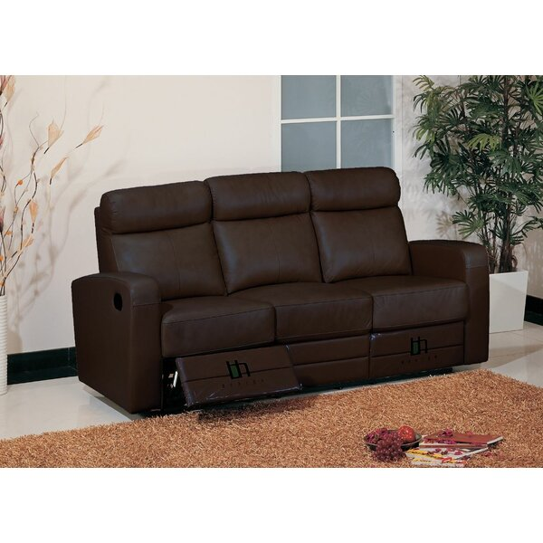 Leather Leather Reclining Sofa by Hokku Designs