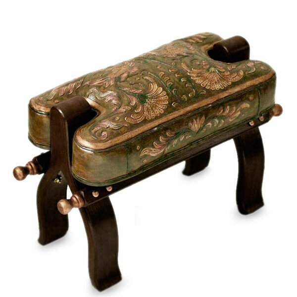 Bird of Paradise Mohena Wood and Leather Stool by Novica