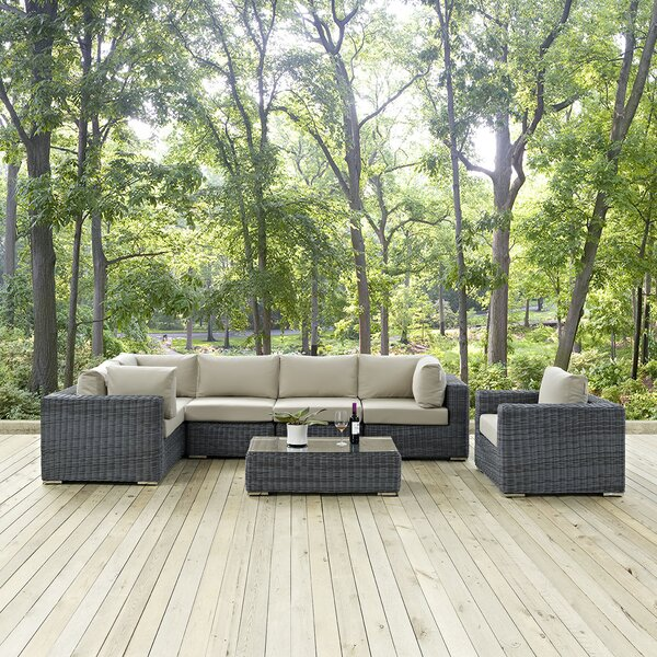 Summon 7 Piece Rattan Sunbrella Sectional Set with Cushions by Modway