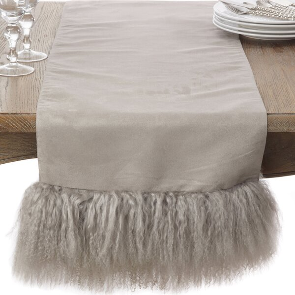 Mongolian Lamb Wool Fur Trim Elegant Table Runner by Saro