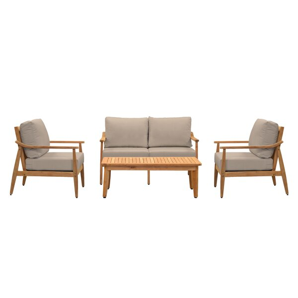 Alta 4 Piece Teak Sofa Seating Group with Sunbrella Cushions by Union Rustic