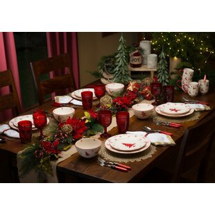 Winterfest 16 Piece Dinnerware Set Service for 4  sc 1 st  Wayfair & Christmas Table Decocations Youu0027ll Love | Wayfair