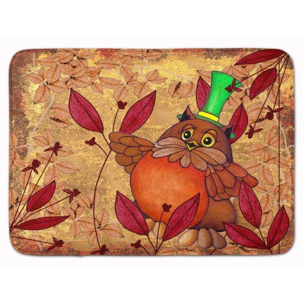 Hootie Fall Owl Rectangle Microfiber Non-Slip Bath Rug
