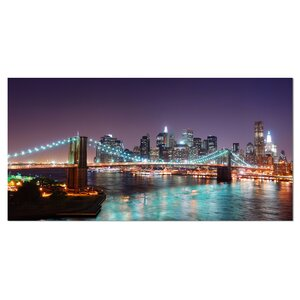 New York City Manhattan Skyline Panorama Cityscape Photographic Print on Wrapped Canvas by Design Art