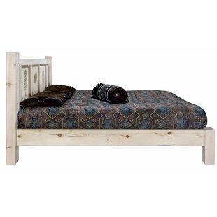 Tustin Laser Engraved Pine Tree Design Platform Bed by Loon Peak