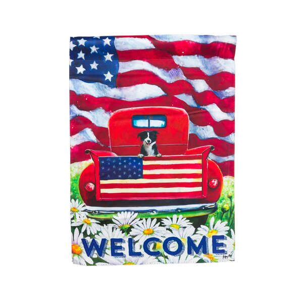 Patriotic Pup Truck Vertical Flag by Evergreen Ent