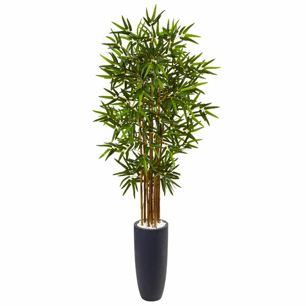 Artificial Faux Floor Bamboo Tree in Cylinder Planter by Bloomsbury Market