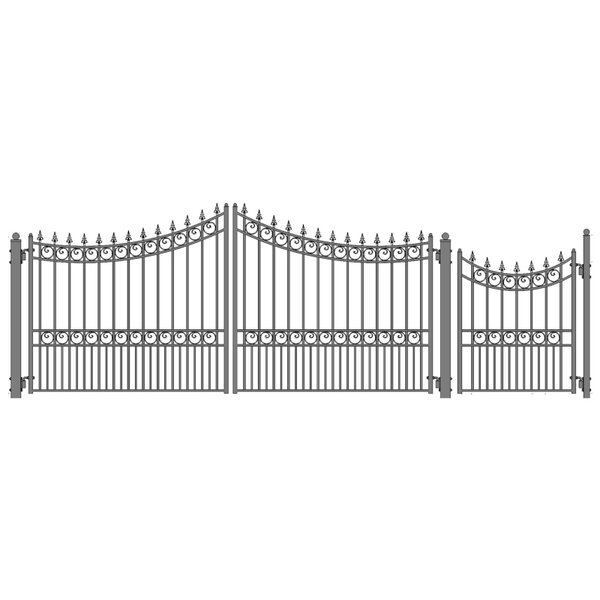 Moscow Steel Dual Swing Driveway Gate with Pedestrian Gate by ALEKO