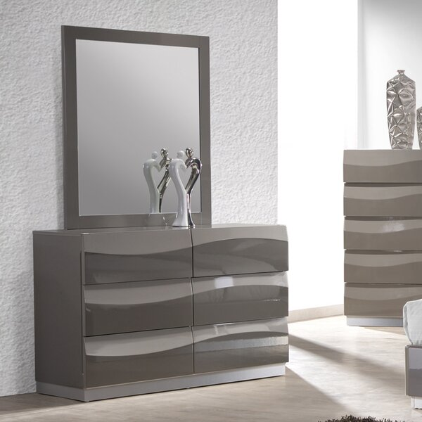 Delhi 6 Drawer Double Dresser with Mirror by Wade Logan