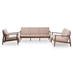 Deges Mid-Century Modern Walnut Wood Light Brown Fabric Upholstered 3-Piece Livingroom Set by George Oliver
