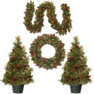 4 piece green pine artificial christmas tree wreath and garland set - Small Lit Christmas Tree