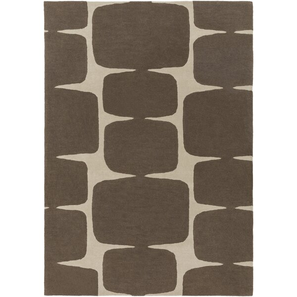 Baltwood Hand-Tufted Dark Brown/Khaki Area Rug by Langley Street
