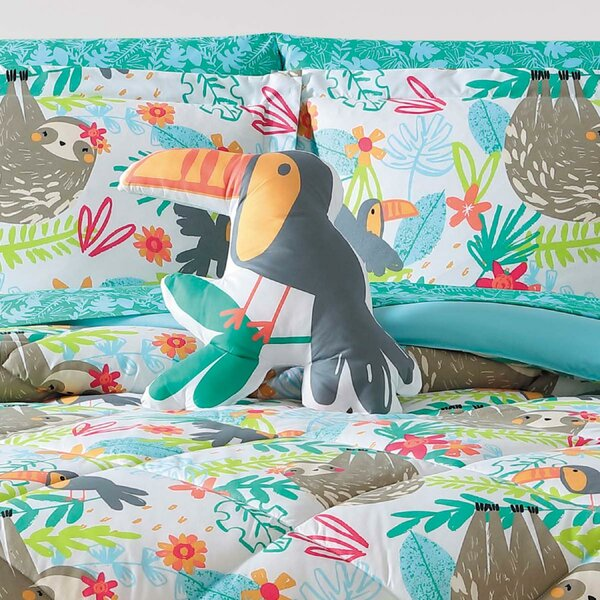 Hollowell Hanging Out Toucan Throw Pillow by Zoomie Kids
