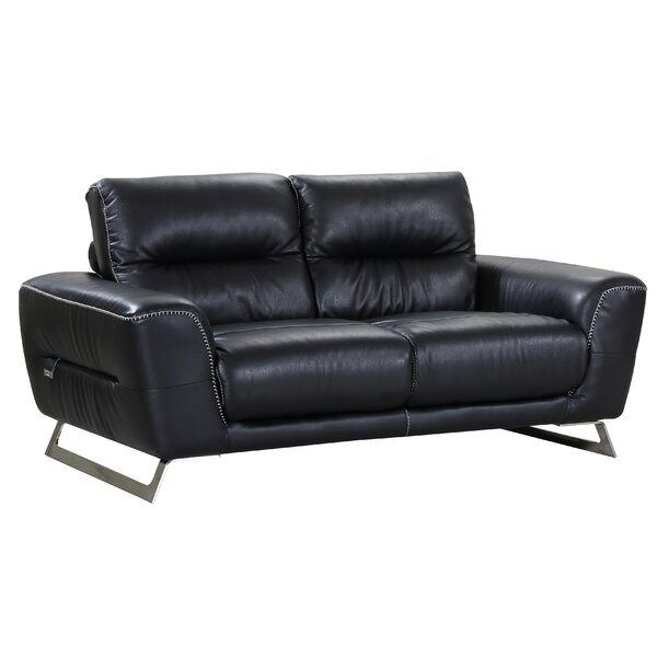 Hawkesbury Common Luxury Italian Upholstered Living Room Leather Loveseat by Orren Ellis