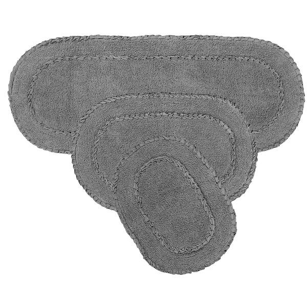 Lona Double Ruffle Oval 100% Cotton Non-Slip piece Bath Rug Set