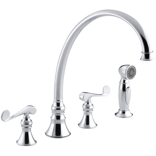 Revival 4-Hole Kitchen Sink Faucet with 11-13/16 Spout, Matching Finish Sidespray and Scroll Lever Handles by Kohler