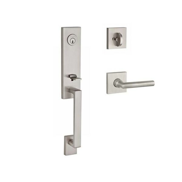 Seattle Single Cylinder Handleset with Tube Door Lever and Contemporary Square Rose by Baldwin