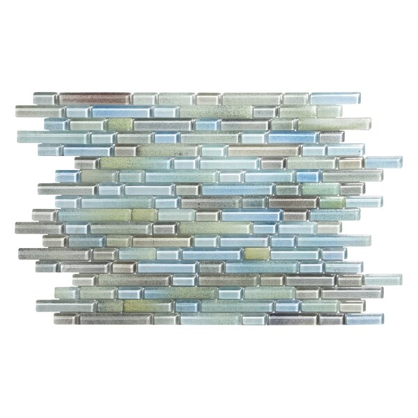 Hi-Fi Offset Linear Random Sized Glass Mosaic Tile in Green/Beige by Kellani