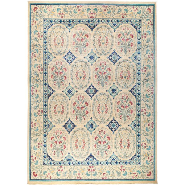 One-of-a-Kind Crump Hand Knotted Wool Blue/Tan Area Rug by Isabelline