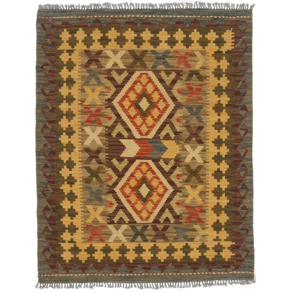 One-of-a-Kind Carita Hand-Woven Wool Brown/Light Gold Area Rug by Isabelline