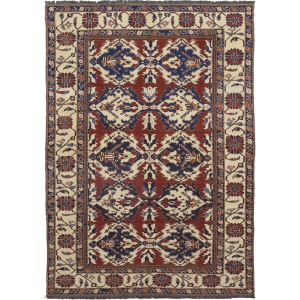 One-of-a-Kind Allbee Hand-Knotted Wool Red/Beige Indoor Area Rug by Bloomsbury Market