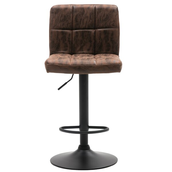Galilea Industrial Metal Upholstered Adjustable Height Swivel Bar Stool (Set Of 2) By Williston Forge