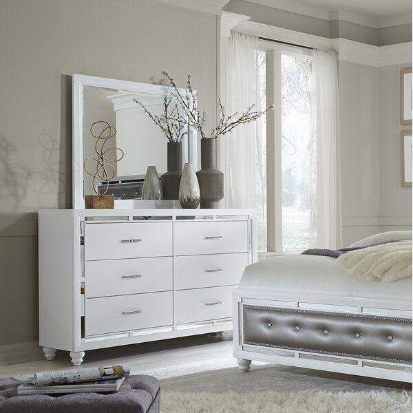 Rhona 6 Drawer Double Dresser with Mirror by Rosdorf Park