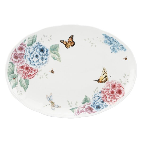 Butterfly Meadow Hydrangea Large Oval Platter by Lenox