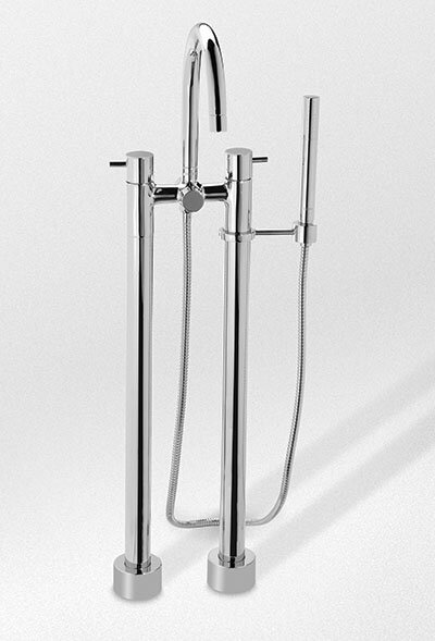 Double Handle Floor Mounted Clawfoot Tub Faucet With Handshower By Toto