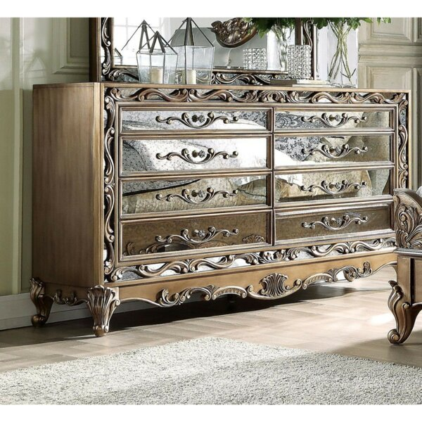 Summerdale Floral Inlaid Wooden 8 Drawer Double Dresser by Astoria Grand
