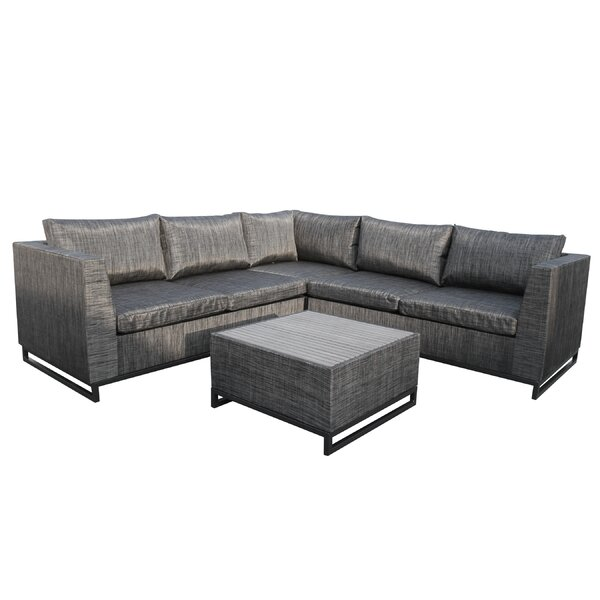 Major 4 Piece Sectional Set with Cushions by Wade Logan