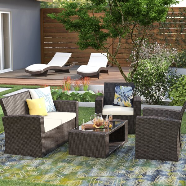 Alfonso 4 Piece Rattan Sofa Seating Group With Cushions By Highland Dunes