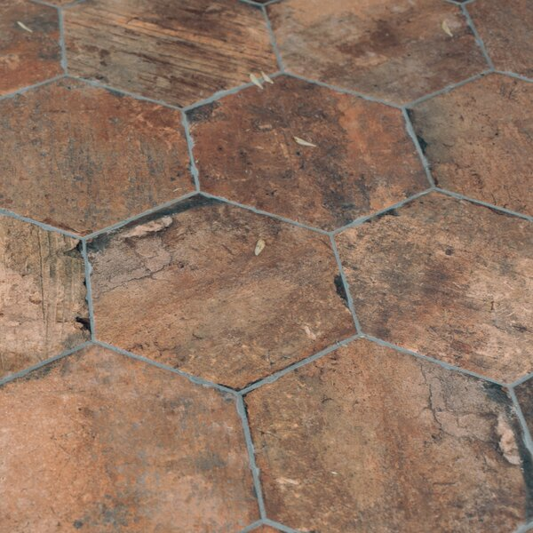 Chicago Brick Hexagon 9 x 11 Porcelain Mosaic Tile in Old Chicago by Tesoro