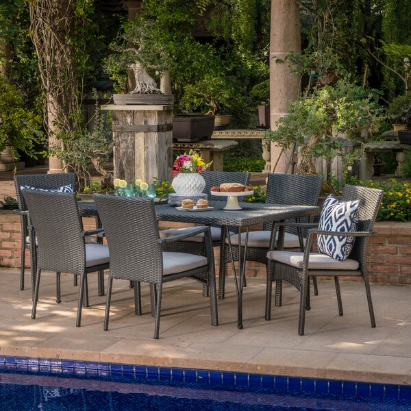 Skyla Outdoor Wicker 7 Piece Dining Set with Cushions by Ivy Bronx