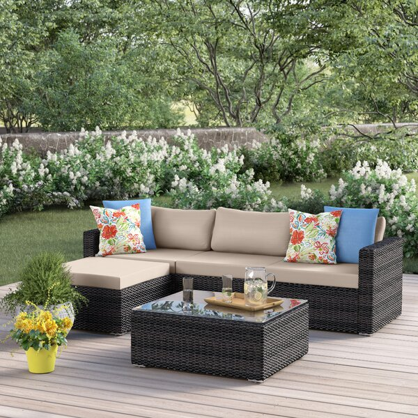 Cabral 5 Piece Rattan Sectional Seating Group with Cushions by Sol 72 Outdoor Sol 72 Outdoor