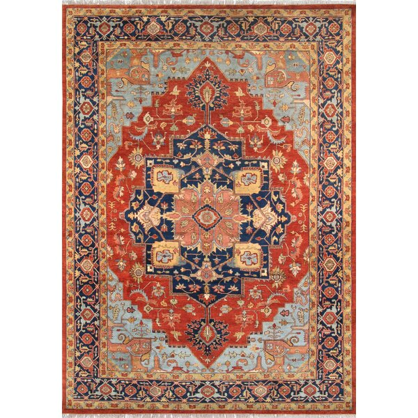 Tribal Serapi Red/Navy Area Rug by Pasargad