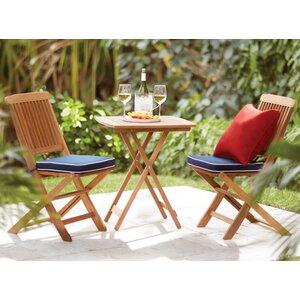 Sunny Isles Square Brazilian Eucalyptus 3 Piece Bistro Set