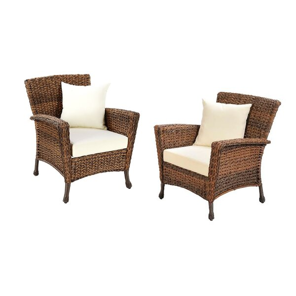 Ophélie Outdoor Faux Sea Grass Garden Patio Chair with Cushion (Set of 2) by One Allium Way