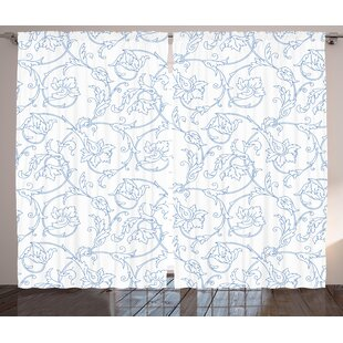 Soderville Fl Flower Orchids Bohemian Style Vintage Petals Vines Pattern French Country Graphic Print Text Semi Sheer Rod Pocket Curtain Panels