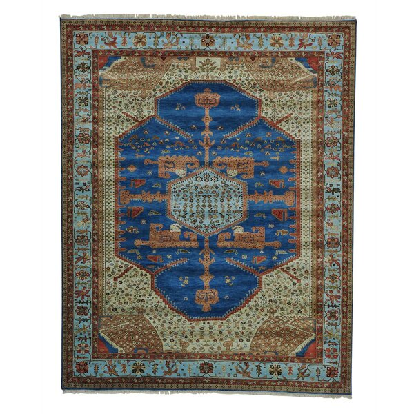 One-of-a-Kind Griego Vintage Overdyed Bibikabad Hand-Knotted Denim Blue Area Rug by Bloomsbury Market